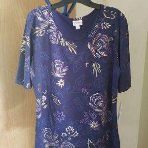 LuLaroe perfect tee 3XL blue golden flowered NWT